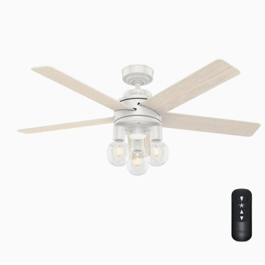 Today only: Hunter Hardwick 52-in fresh white LED indoor ceiling fan for $220