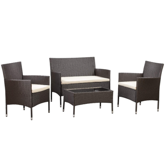 4-piece Amazon Basics outdoor patio conversation set with cushions for $232